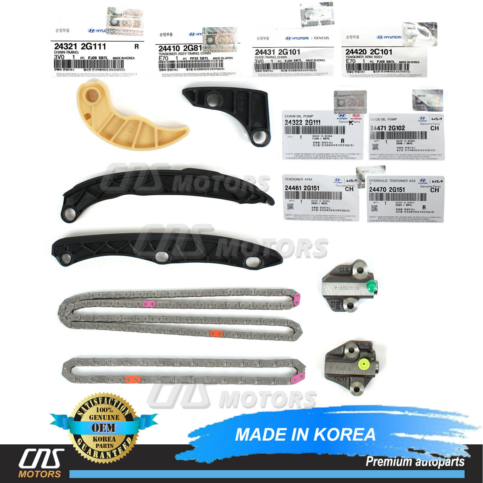 Genuine Full Timing Chain Kit W O Gears For 10 14 Sonata Optima 24l Belt Of 2007 Kia 1 8only Available