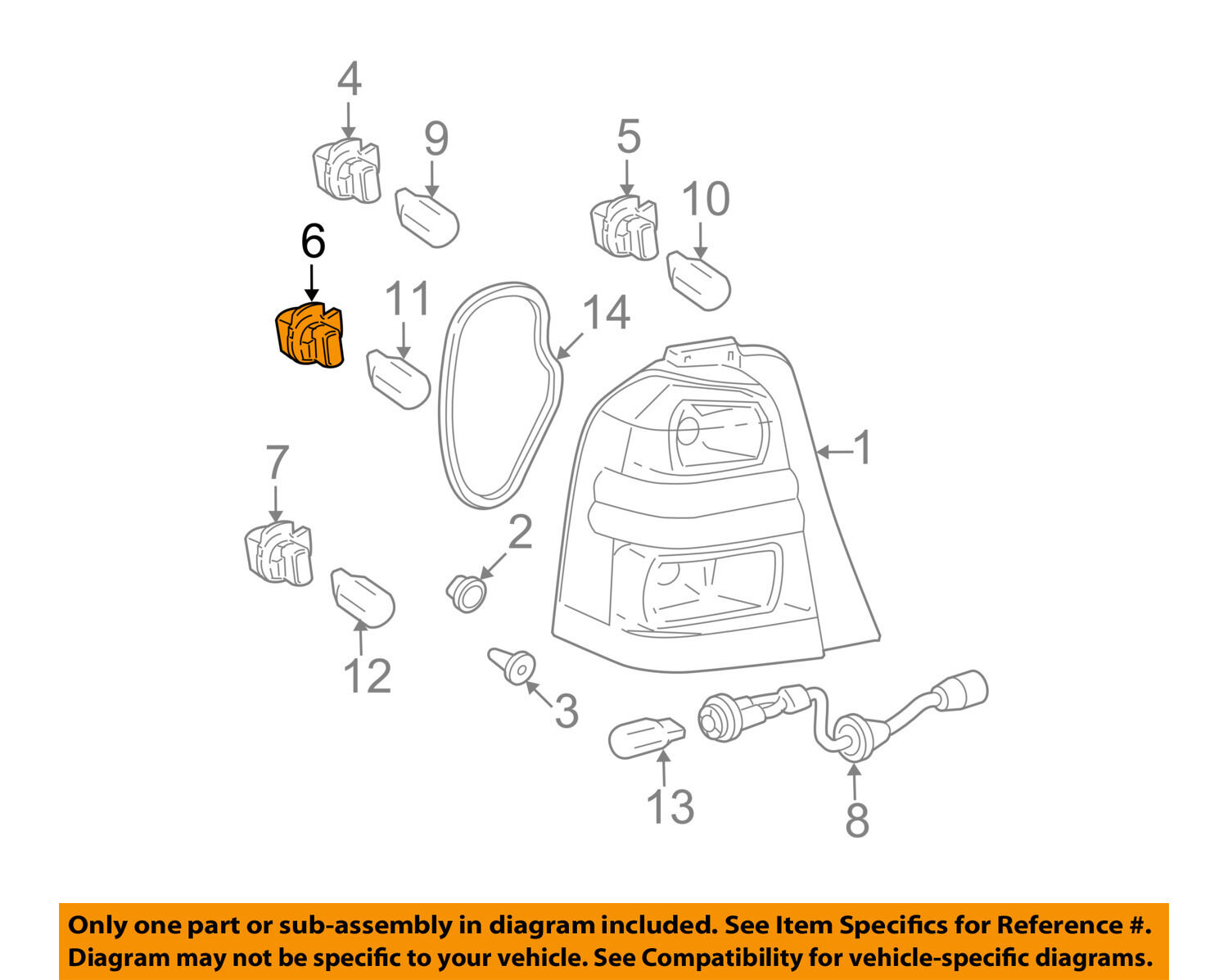 Toyota Oem 01 07 Highlander Taillight Tail Light Lamp Rear Socket Wiring Schematic 9007560034 1 Of 2only 5 Available