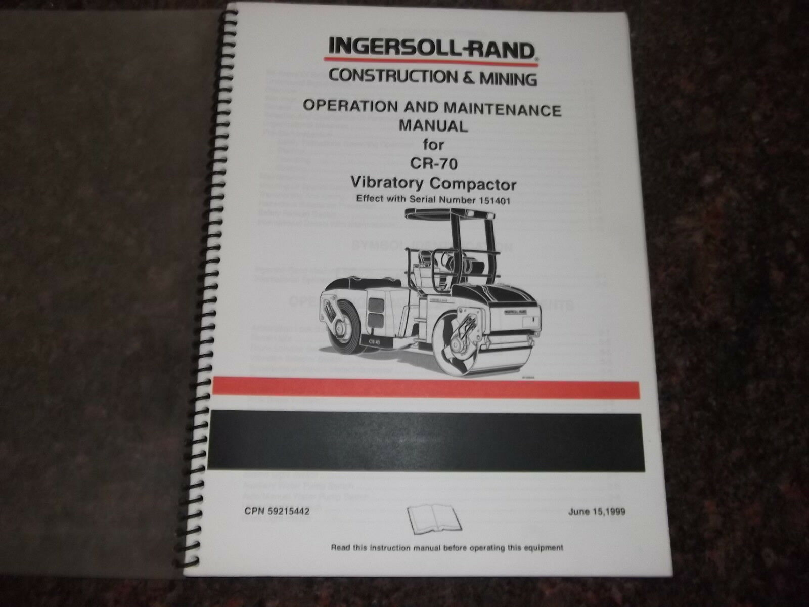 Ingersoll Rand Cr-70 Vibratory Compactor Operation & Maintenance Manual 1  of 5Only 1 available ...