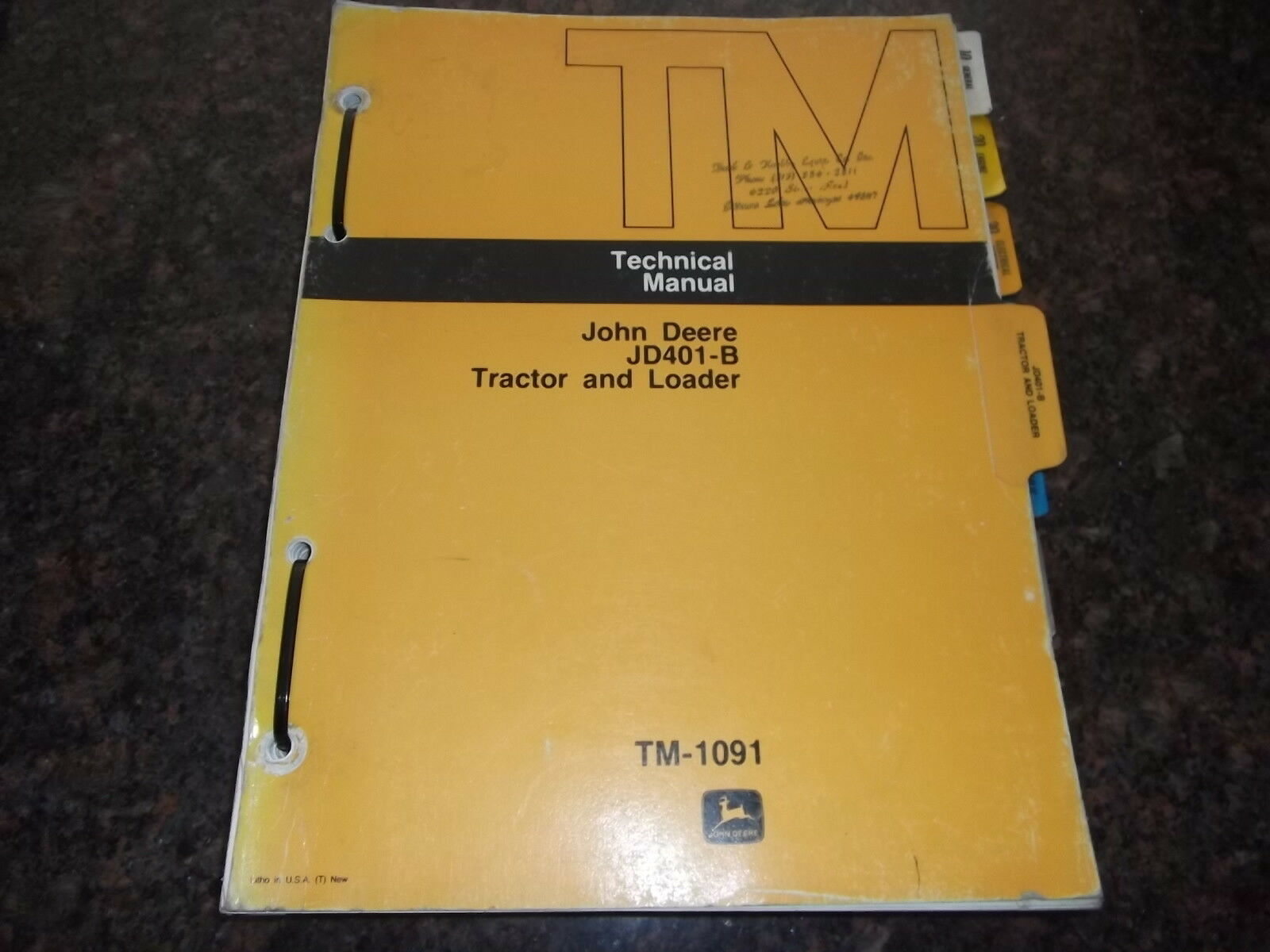 John Deere Jd401-B Tractor & Loader Service Shop Technical Repair Manual  Tm-1091 1 of 3Only 2 available John Deere ...