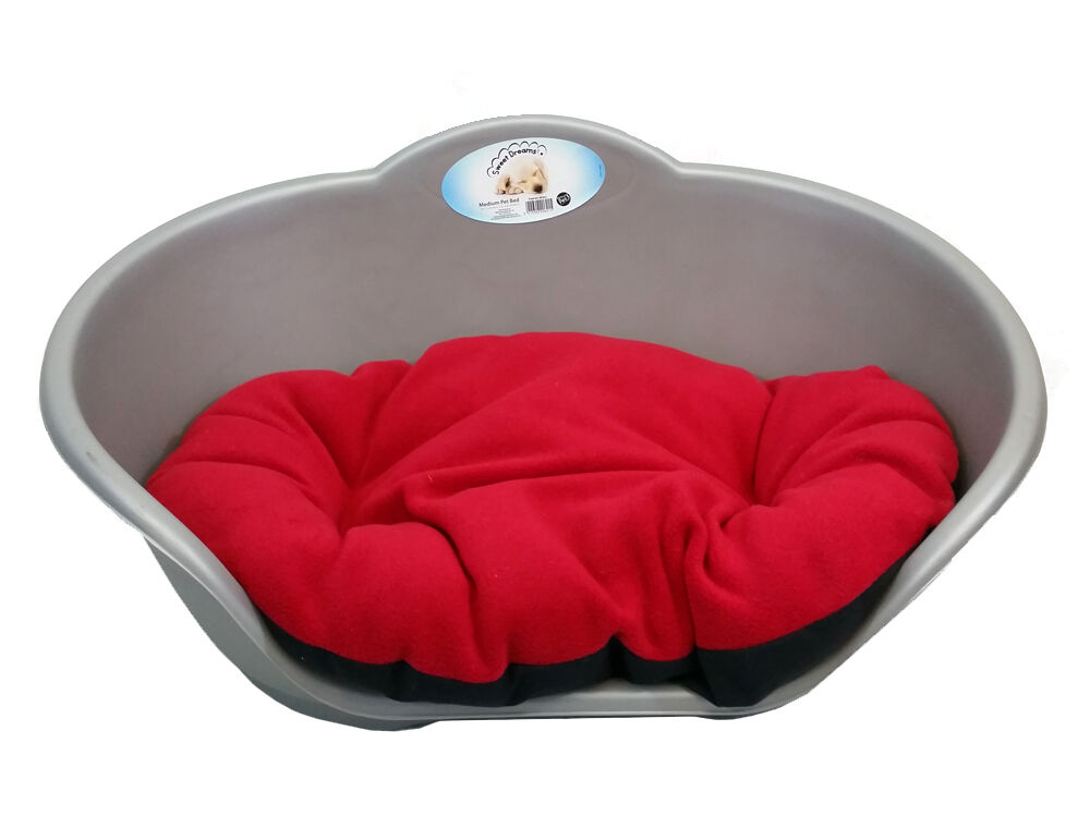 Extra Large Plastic Silver Grey Pet Bed With Red Cushion Dog Cat Sleep Basket