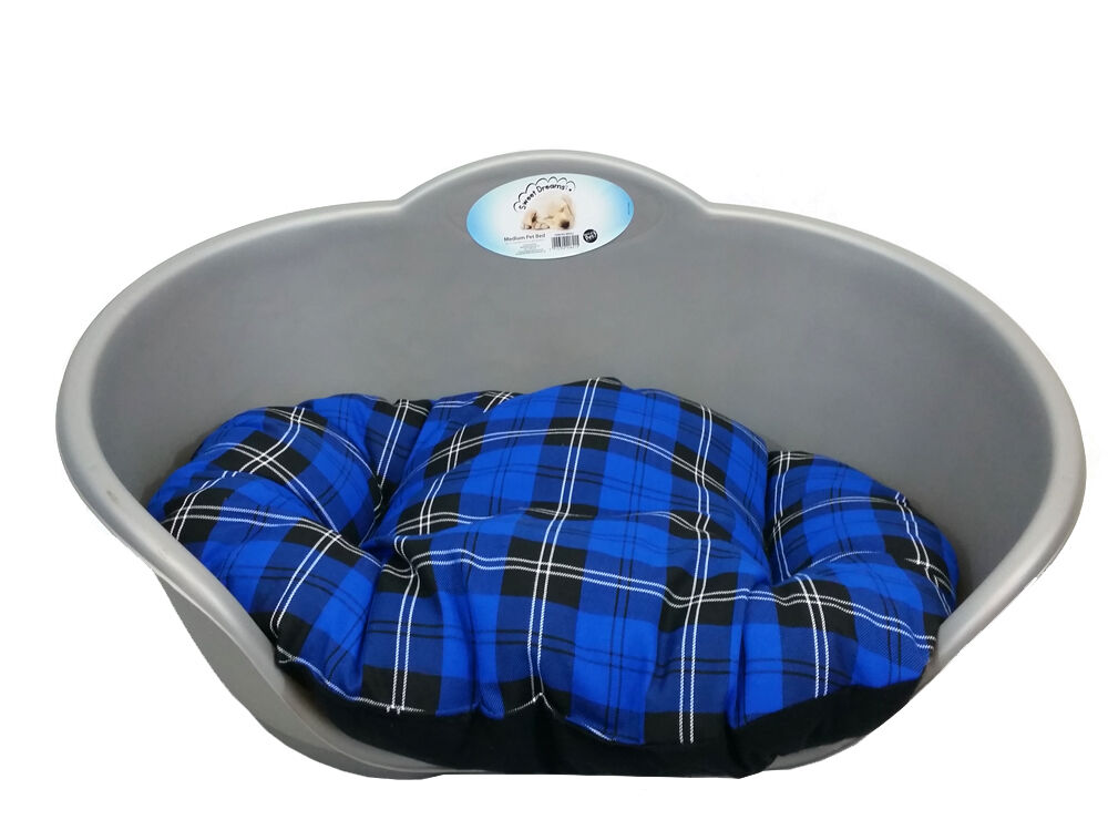Extra Large Plastic Silver Grey Pet Bed With Blue Tartan Cushion Dog Cat Basket