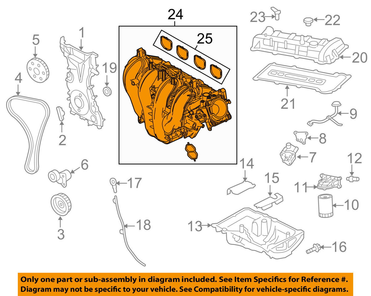 Ford Oem 03 06 Focus Engine Intake Manifold 3s4z9424ah 28925 With Diagram 1 Of 2only Available See More