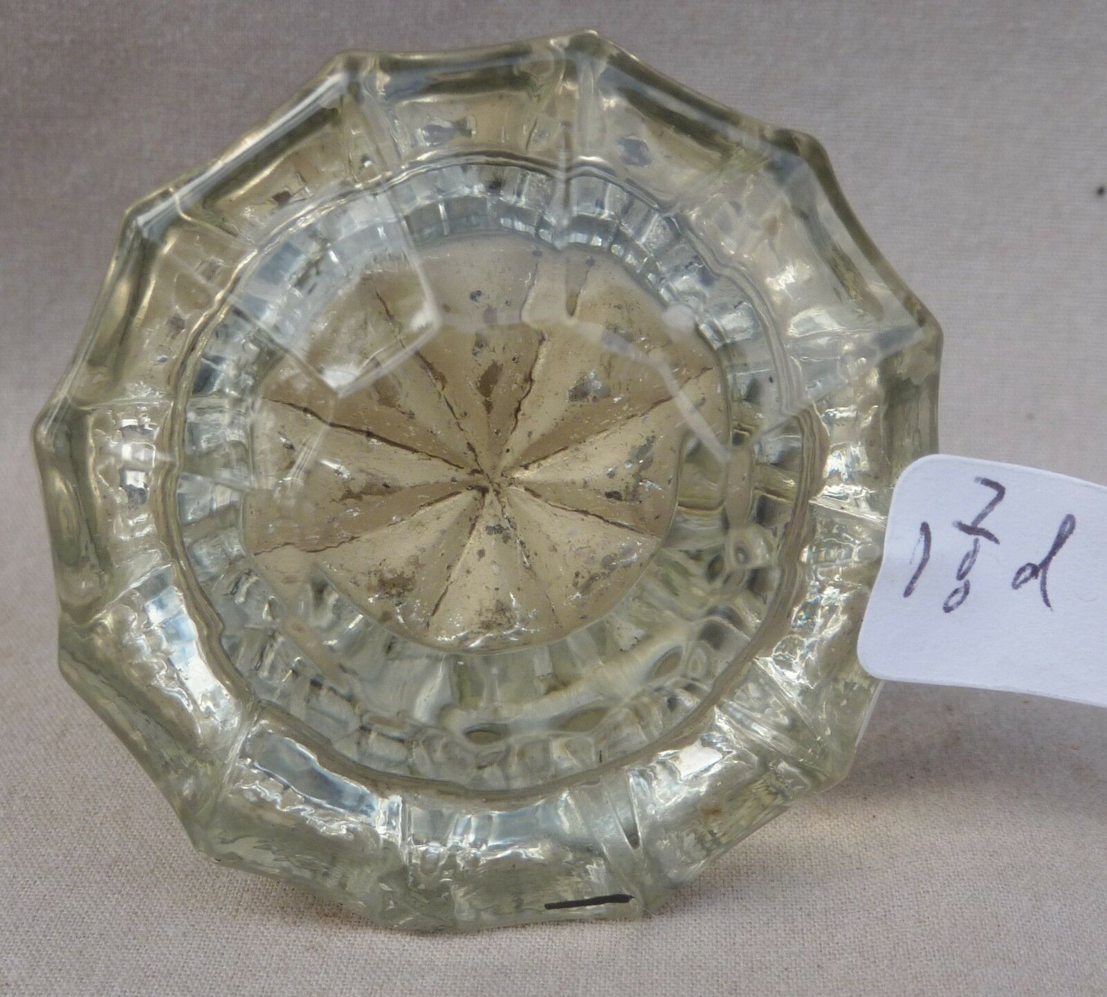 """Glass Door Knob Antique 12 point BRASS & CRYSTAL cute small size!1 7/8"""" (single)"""