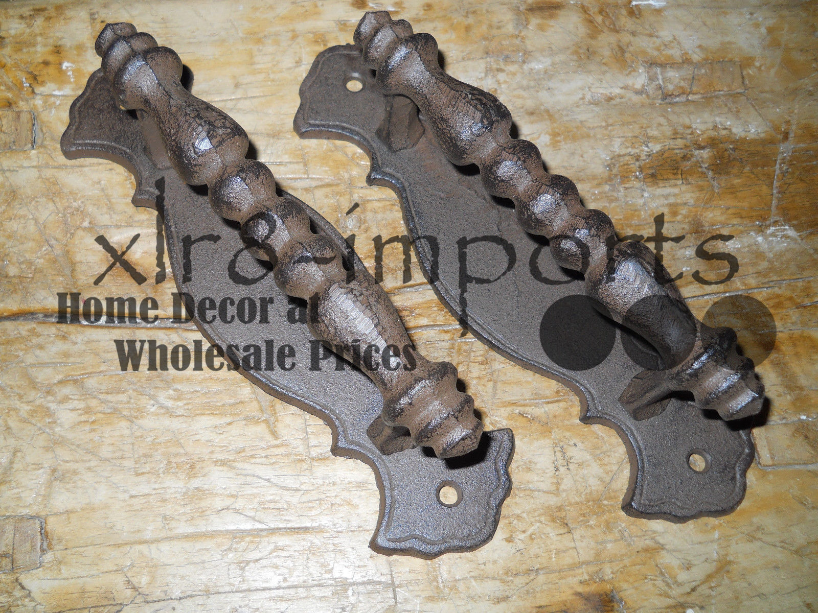 2 HUGE Cast Iron Antique Style FANCY Barn Handle, Gate Pull, Shed Door Handles