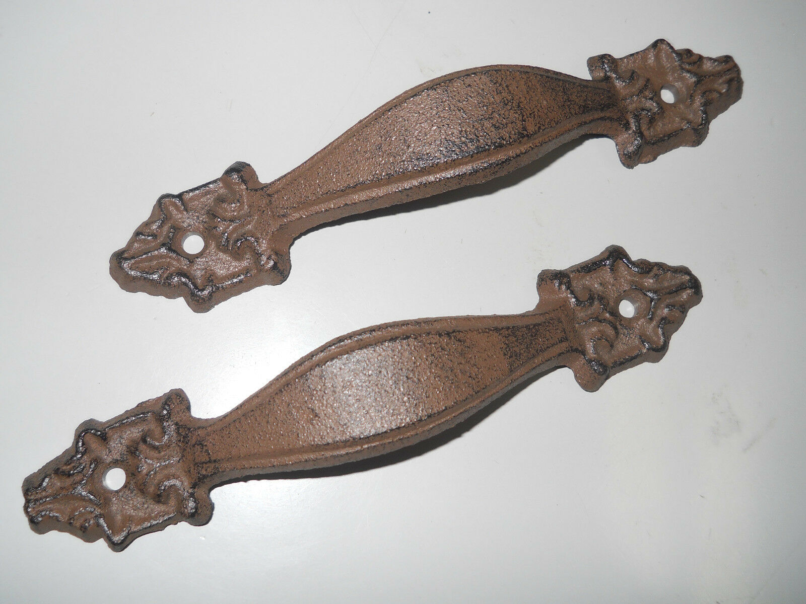 6 Large Cast Iron Antique Style FANCY Barn Handle Gate Pull Shed Door Handles #5