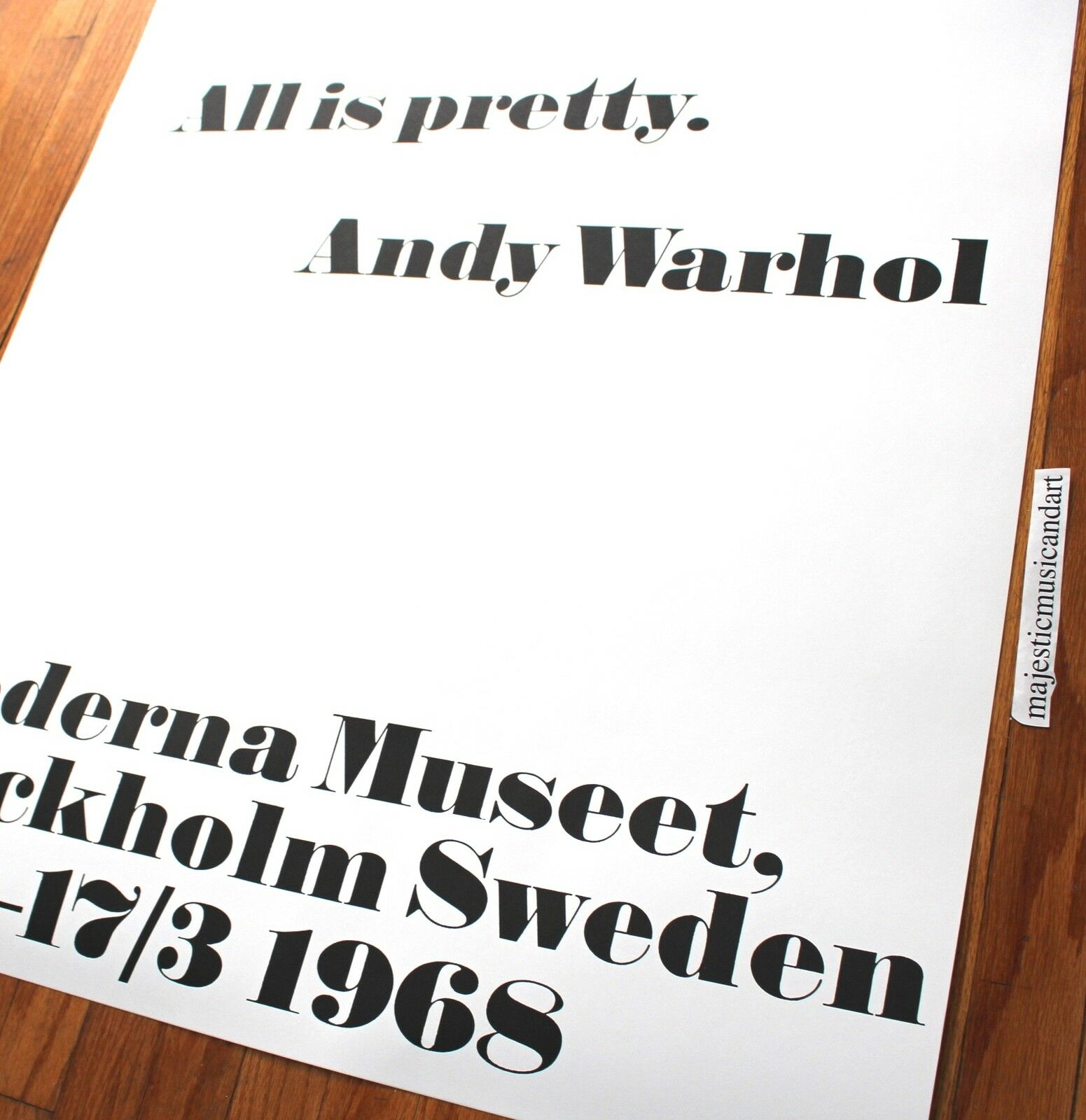 andy warhol all is pretty sweden gallery poster mint huge rare eur 207 30 picclick ie. Black Bedroom Furniture Sets. Home Design Ideas
