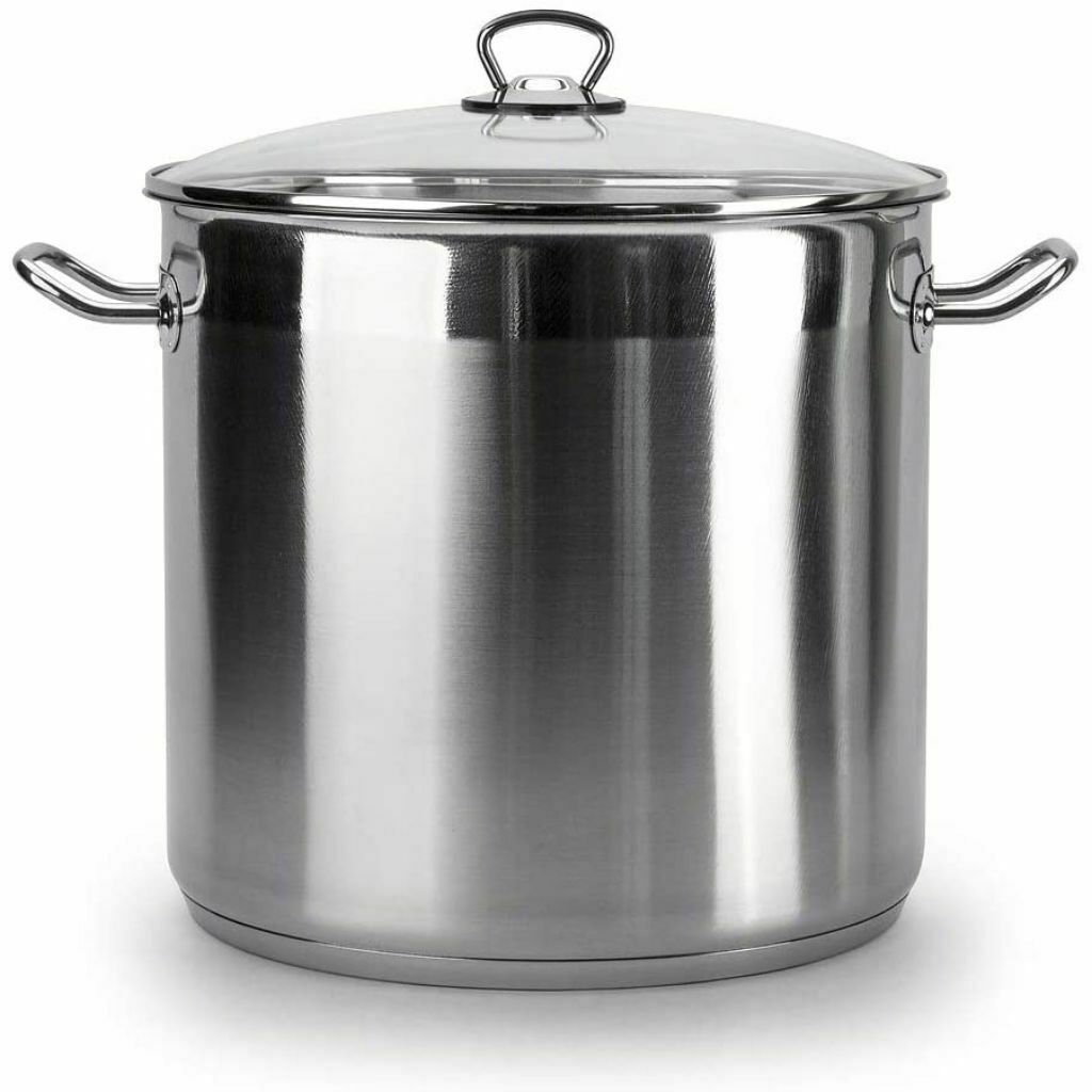 large deep stainless steel cooking stock pot casserole glass lid induction base. Black Bedroom Furniture Sets. Home Design Ideas