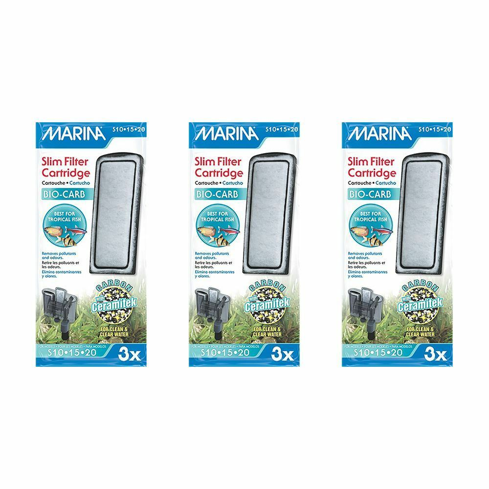 Marina Slim Filter Bio Carb Cartridges 3 packs of 3 BUNDLE Tank Filter Media