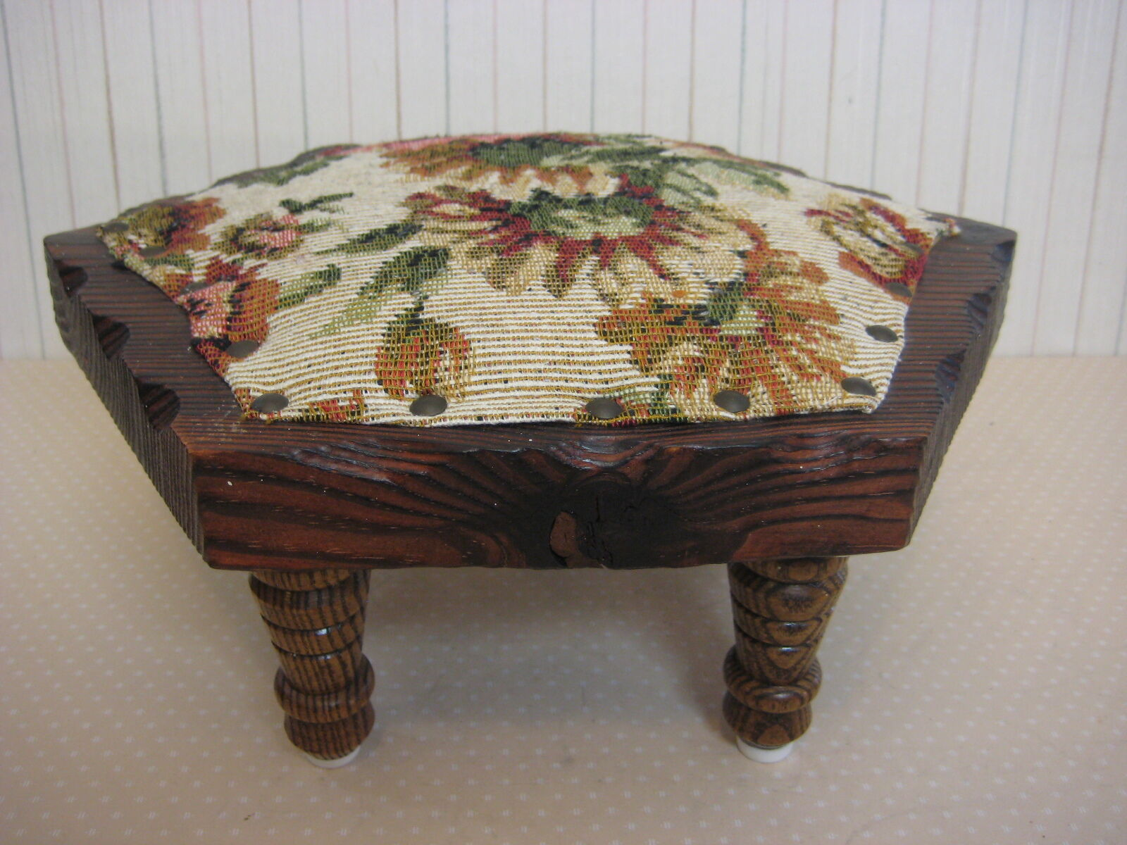 """Vintage Hexagon Wooden Foot Stool With Floral Cover & Brass Nail, 4 Legs, 5 1/3"""""""