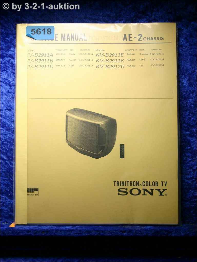 SONY SERVICE Manual KV B2911D /A /B /K /B2913E /B2912U Color TV ...