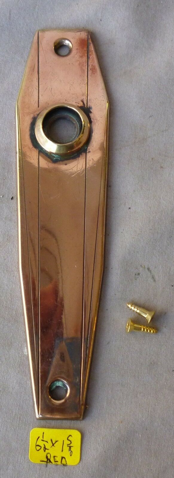 """Door Knob Back Plate (one) No keyhole Very Deco 6 1/2""""h  Polished RED Brass"""