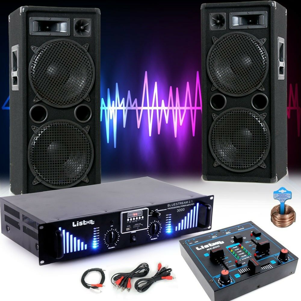 3000 watt pa party musik anlage boxen mp3 usb sd bluetooth verst rker dj blue 3 eur 289 90. Black Bedroom Furniture Sets. Home Design Ideas