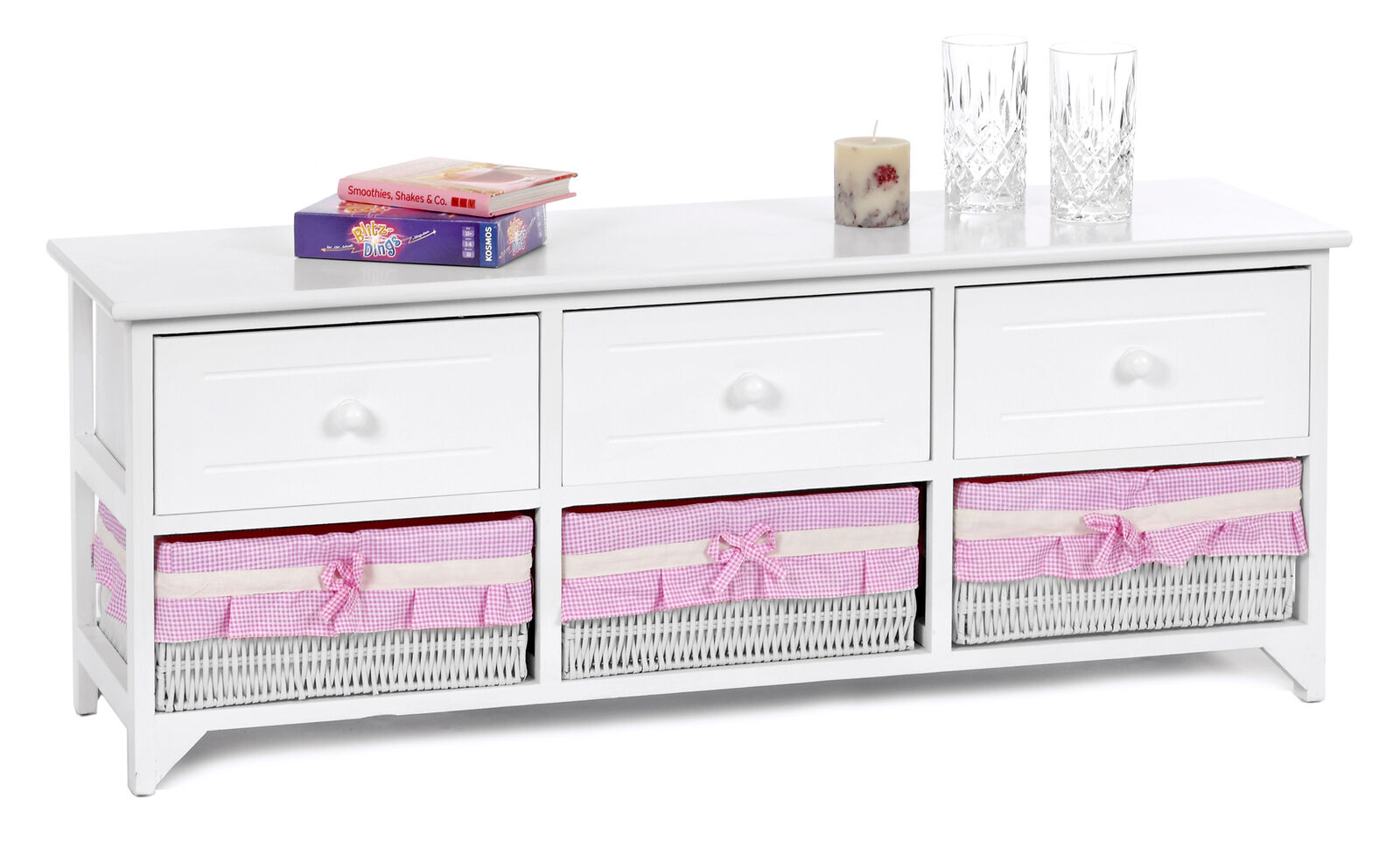 landhaus sitzbank kommode flur wei sideboard 3 schubladen. Black Bedroom Furniture Sets. Home Design Ideas