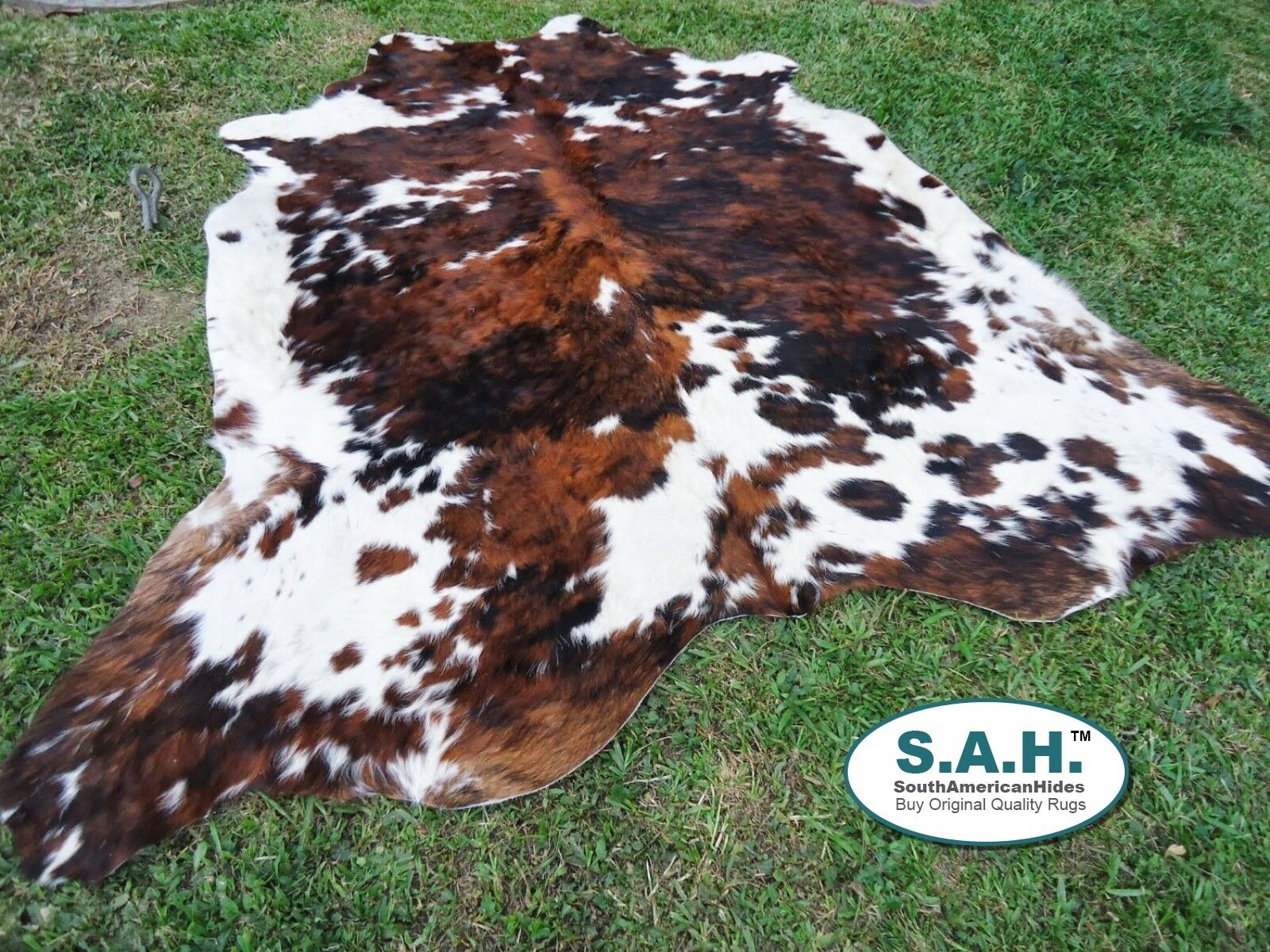 New Large Cowhide Rug Tricolor Cowskin Cow Hide Leather