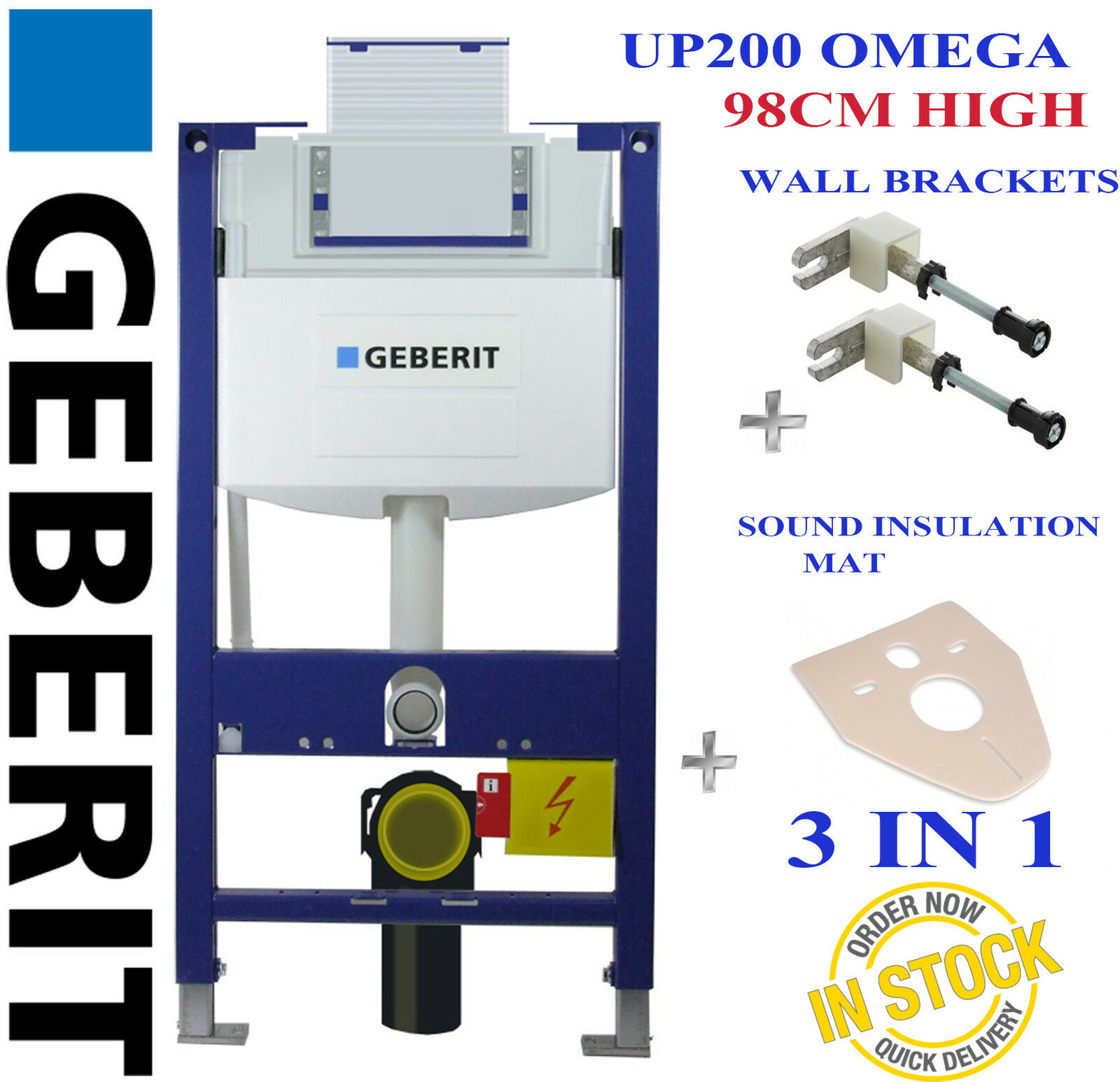Geberit duofix frame for wall hung wc h82 with omega cistern 12cm - Geberit Duofix Omega Up200 98cm High Wc Toilet Frame Wall Brackets Mat H98cm