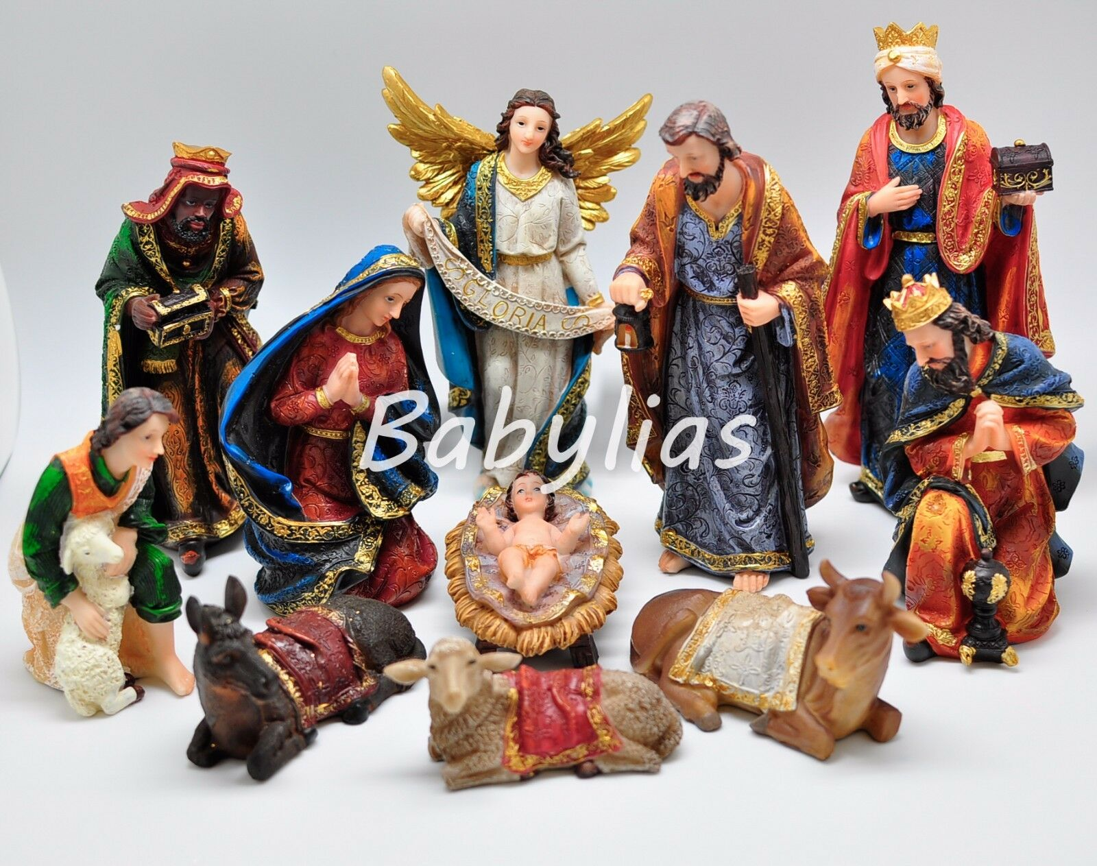 Large nativity set scene figures polyresin figurines baby for Outside christmas figures