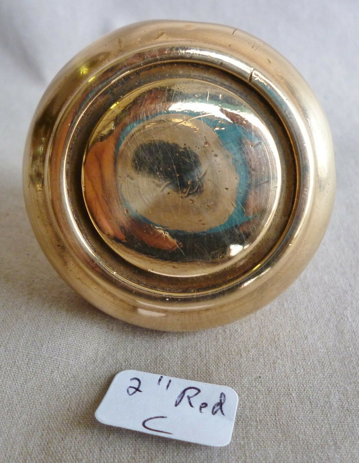 "Single door knob Antique RED BRASS Recently Polished DECO 2"" dia C"