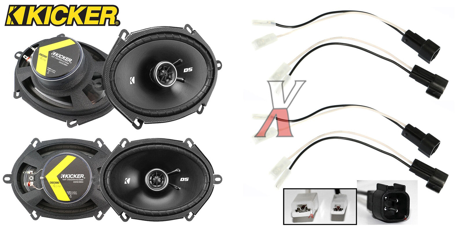 Kicker Dsc680 6x8 Speakers With Wiring Harness Fits Ford 2 Pairs 2000 Excursion 1 Of 8 See More