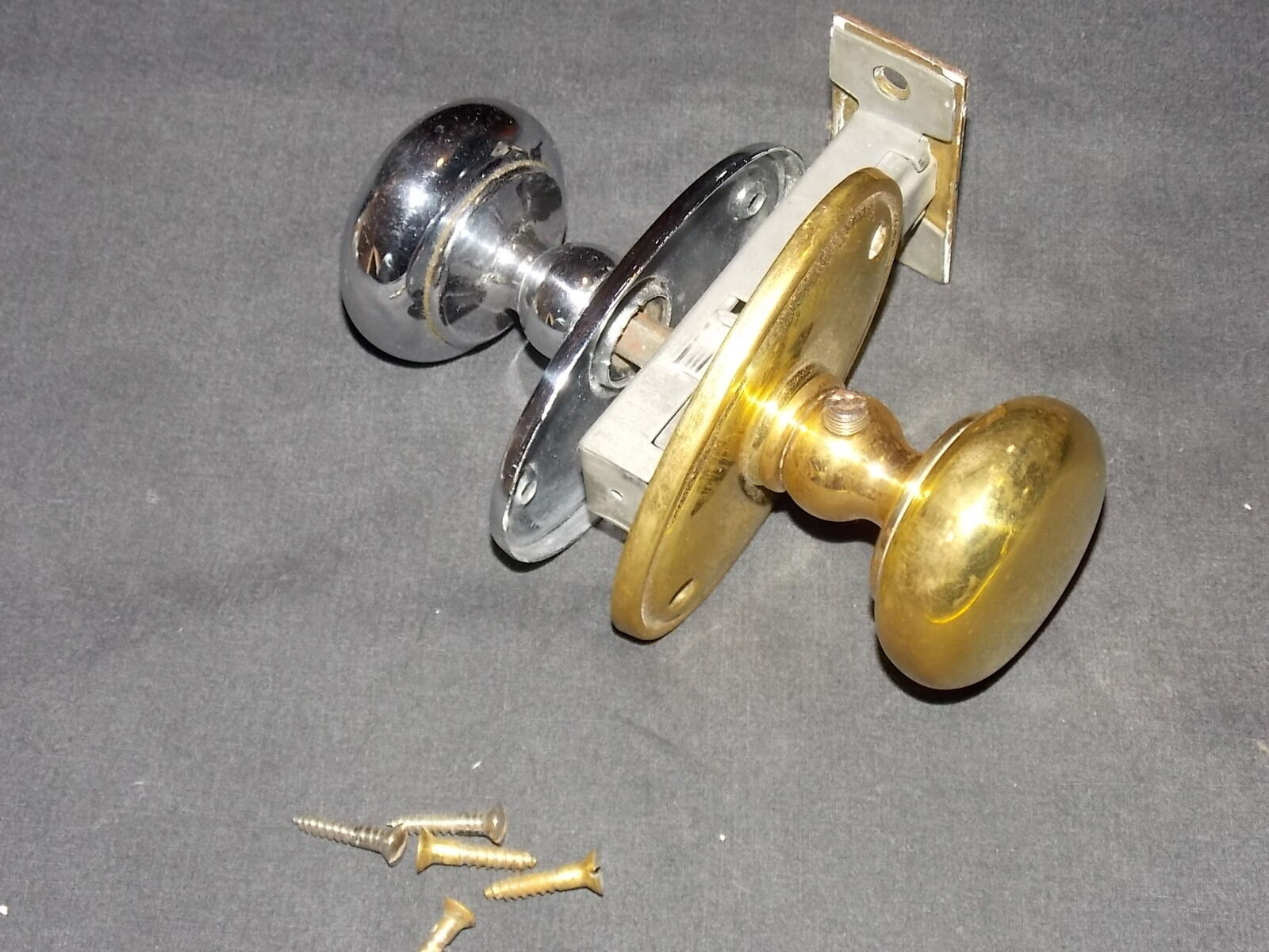 Vintage antique door handle assembly brass and chrome