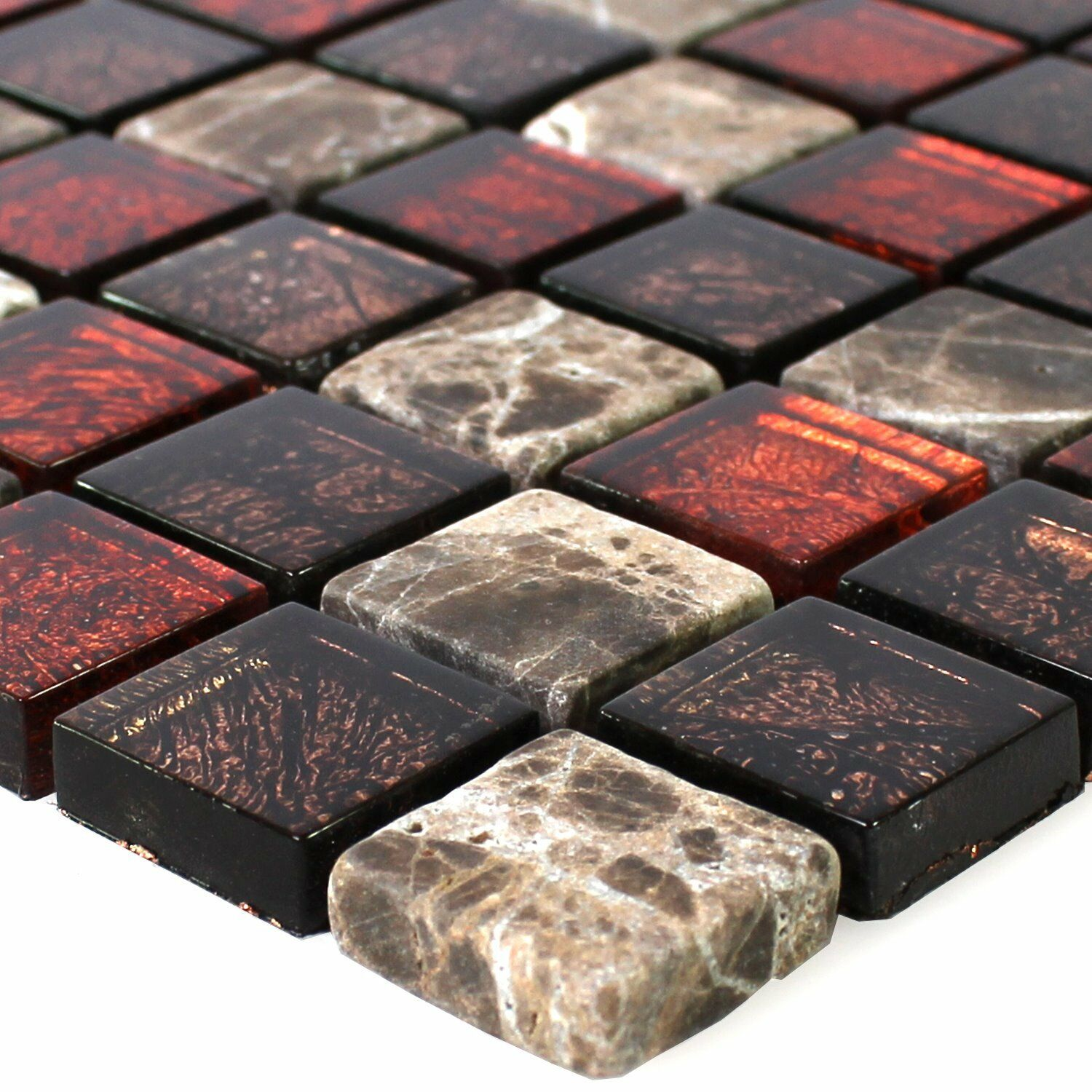 muster naturstein glas mosaik fliesen rot braun 23x23x8mm. Black Bedroom Furniture Sets. Home Design Ideas
