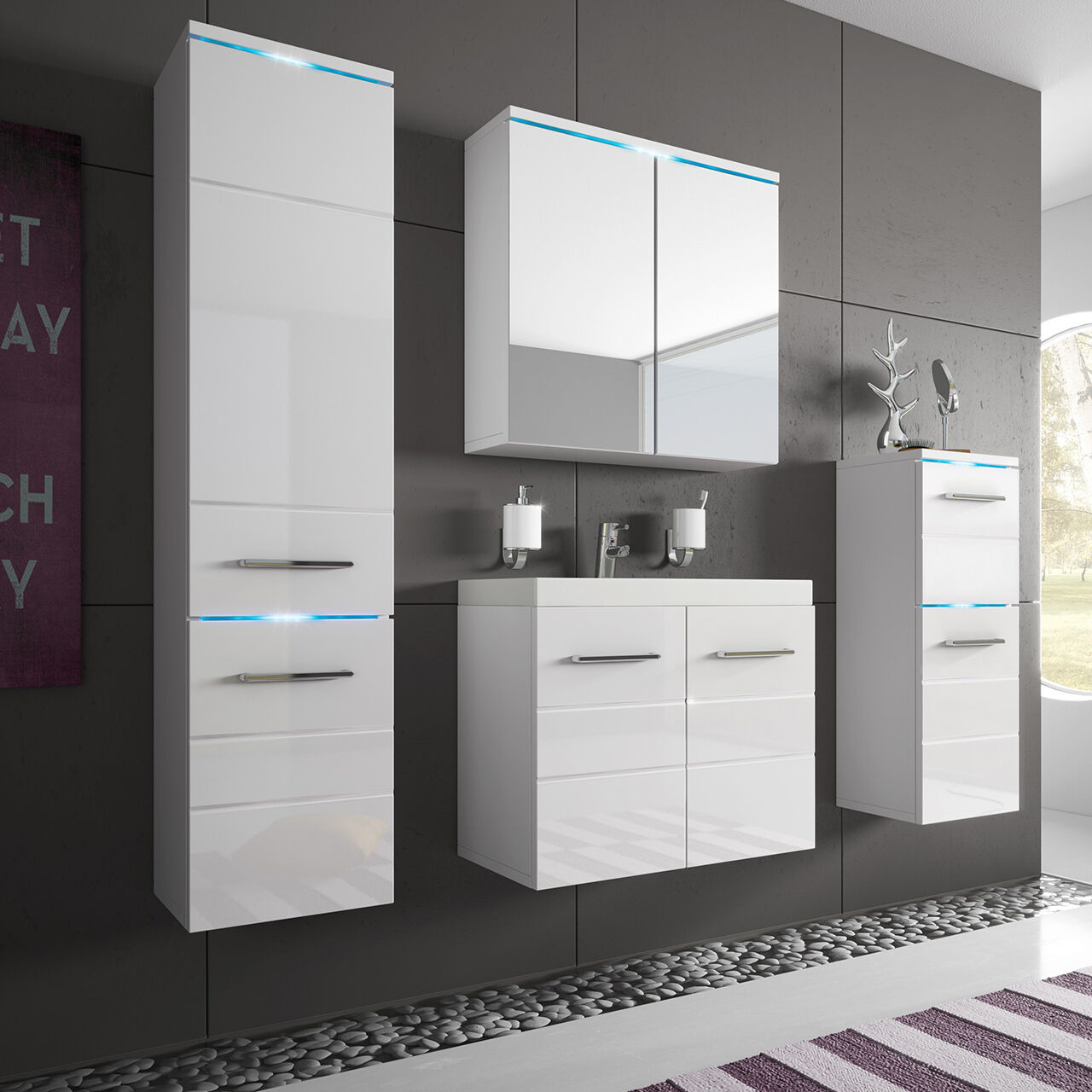 moderne badm bel set badezimmer savona 5tlg mit waschbecken wei hochglanz eur 285 00. Black Bedroom Furniture Sets. Home Design Ideas