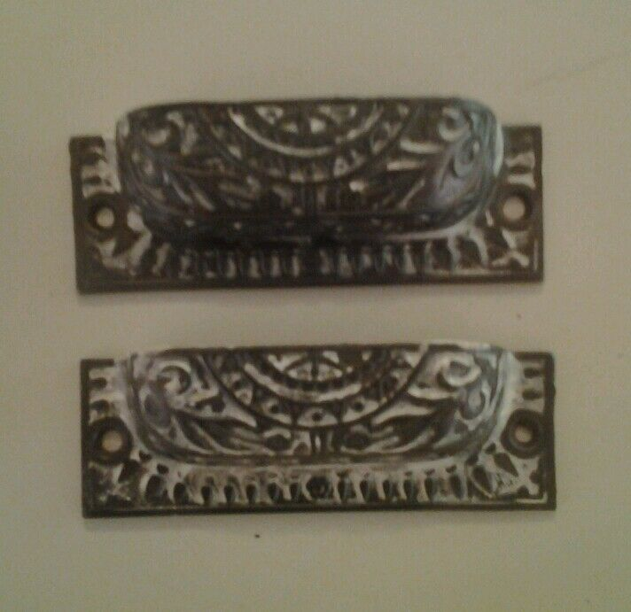 2 Patented Drawer Pulls  Antique Victorian Old Furniture Steampunk Industrial
