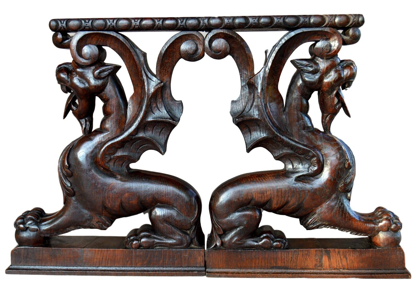 French Victorian Oak Wood Carved Corbels Architectural Support Furniture Griffin