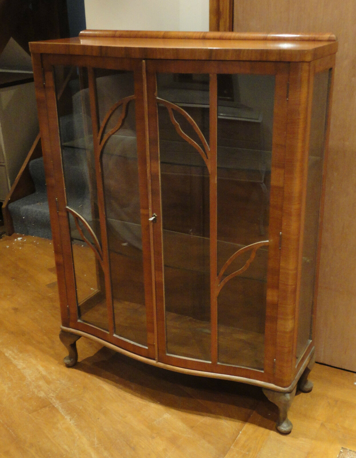 Lovely Record Product Retro Vintage Walnut Display Cabinet Glass Shelves Key
