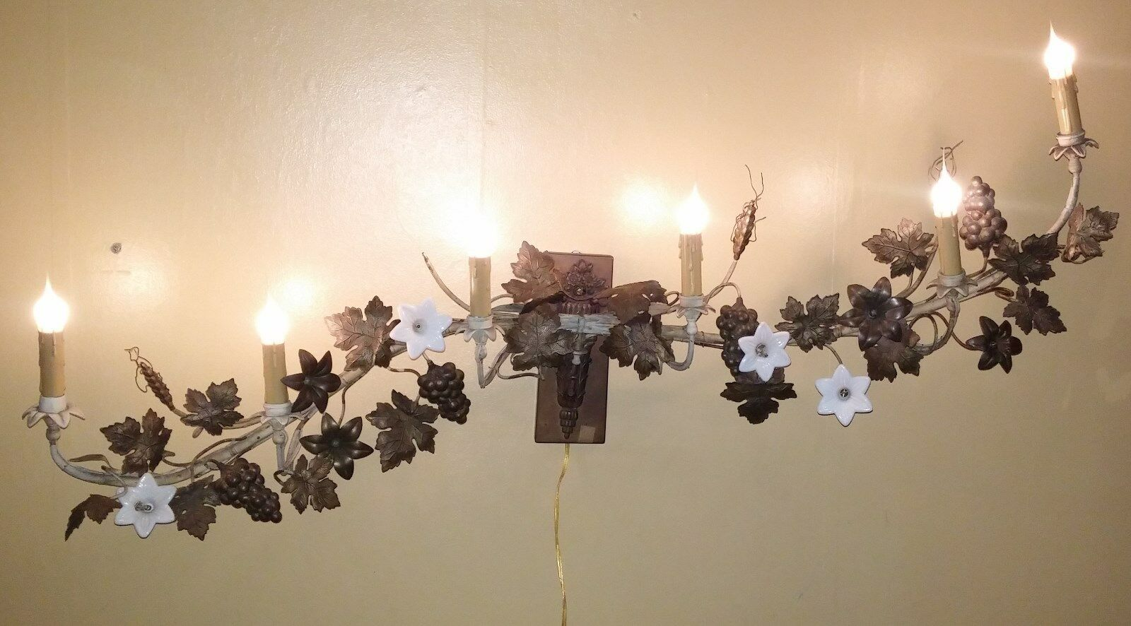 Antique French Brass 6 Light Altar Candelabra Wall Sconce Grapes Wheat Flowers