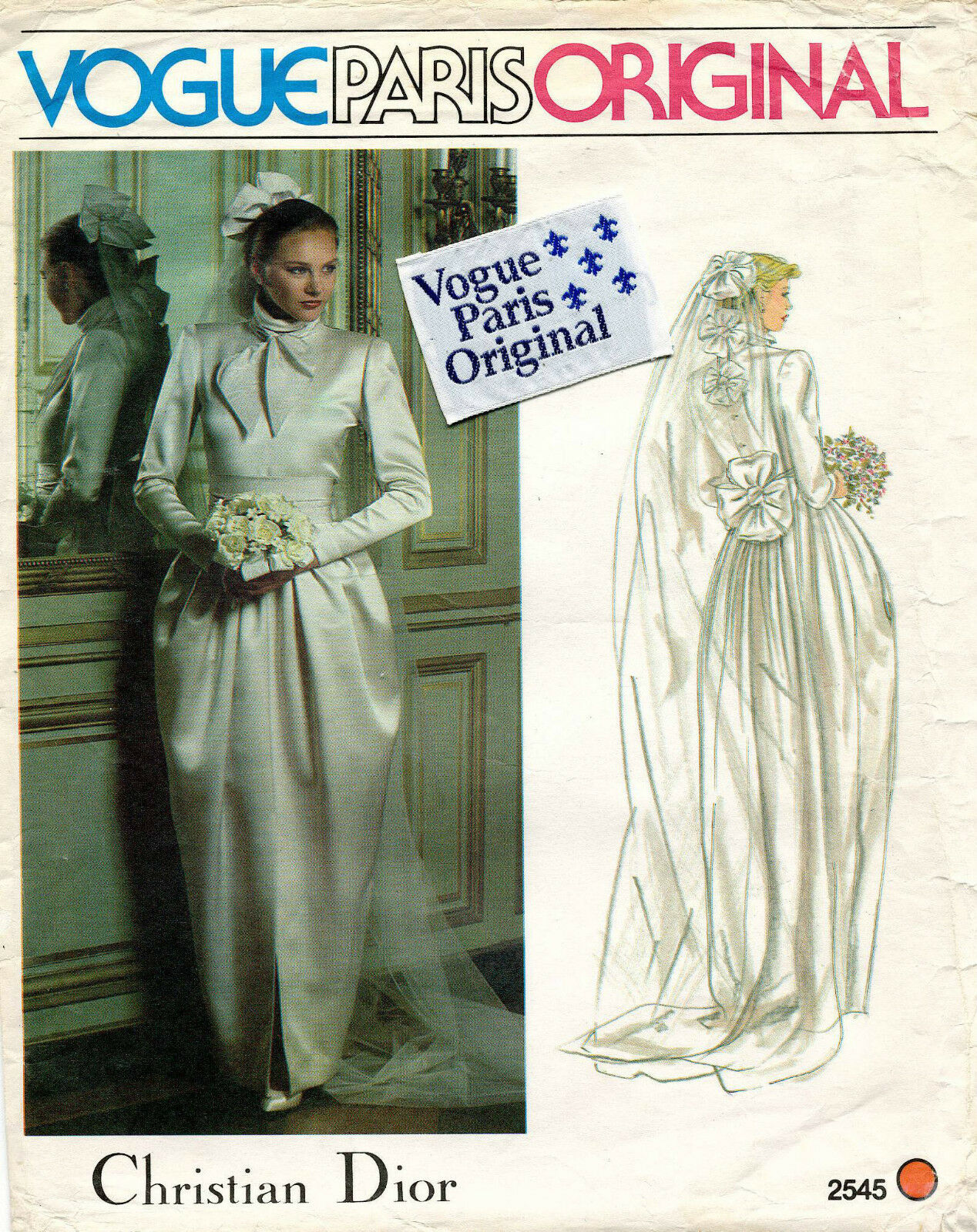 70\'S VTG VOGUE PARIS ORIGINAL Wedding Dress Christian Dior w/Lab ...