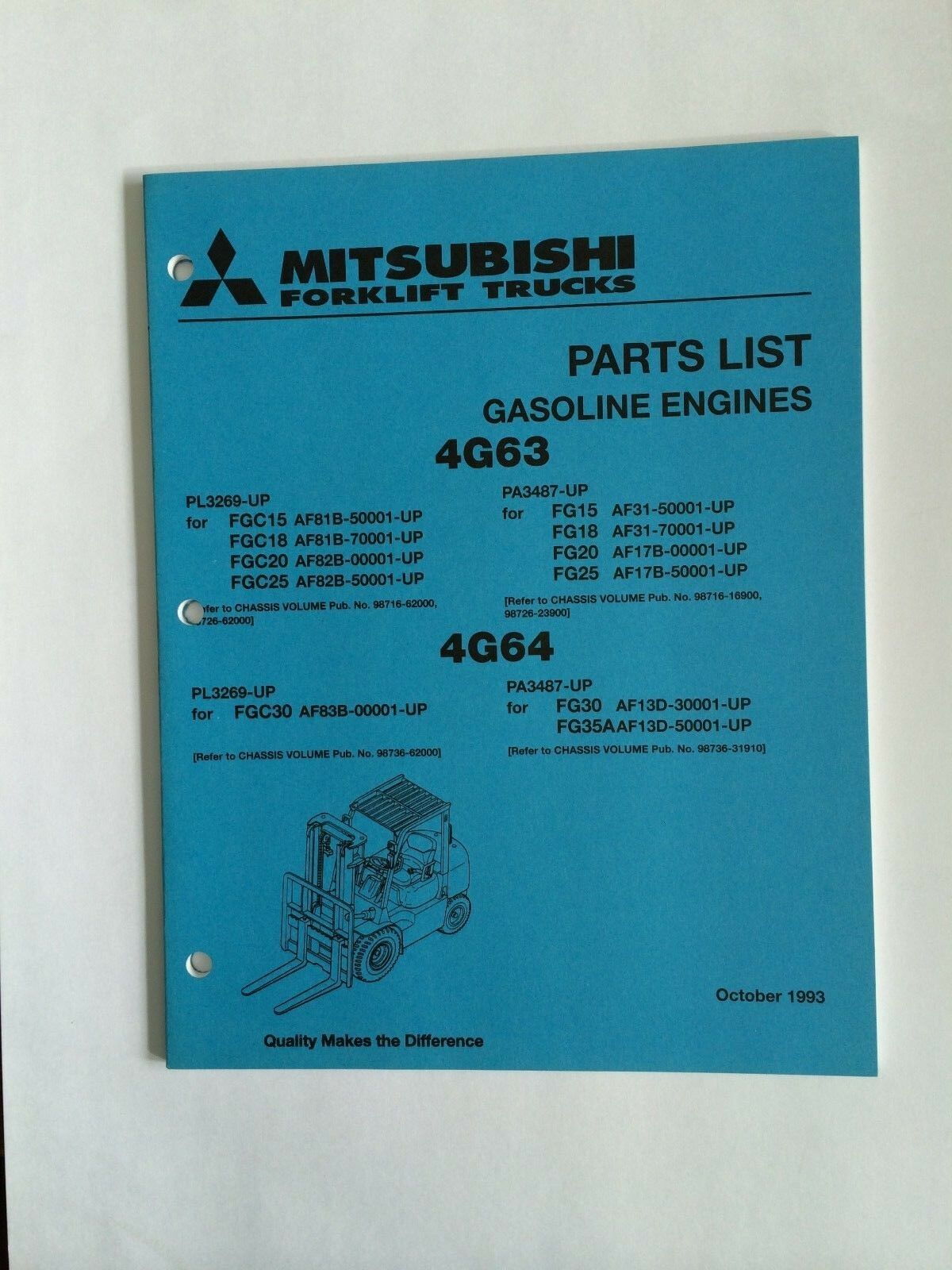 Mitsubshi Forklift Parts Manual 4G63, 4G64 GASOLINE ENGINES 1 of 3Only 5  available Mitsubshi Forklift Parts Manual ...
