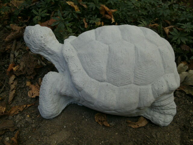 "Large Cement 12"" Turtle Garden Art Statue Weathered Concrete Lawn Awesome"