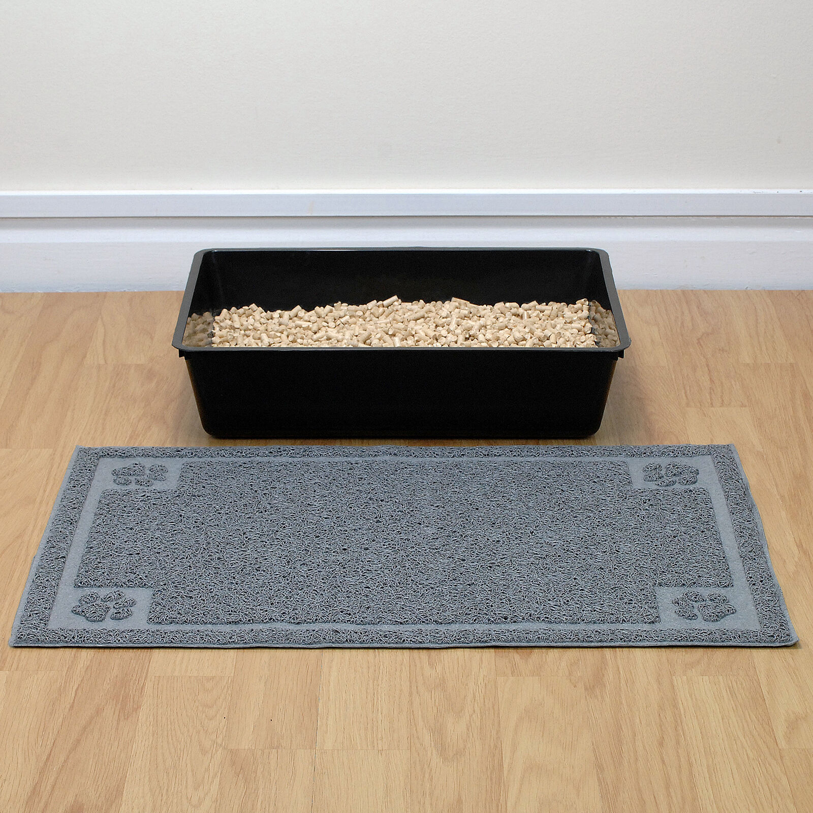 Cat/Kitten Large Soft PVC Grey Litter Tray Floor Mat Paw Cleaning/Anti Tracking