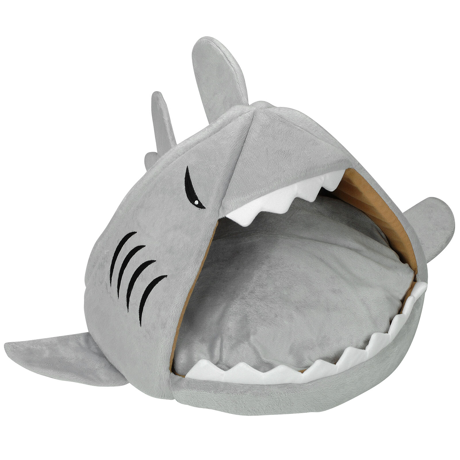 Grey Shark Mouth Warm Pet Bed For Cat/kitten/puppy House Nest Cave Igloo Snug