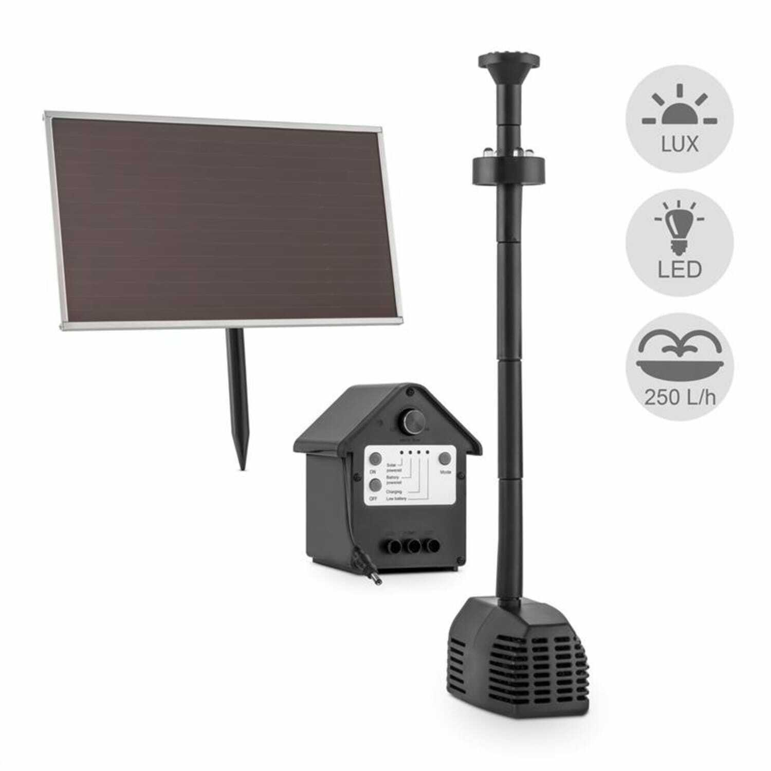 led solarpumpe mit akku f r gartenteich springbrunnen teichpumpe gartenbrunnen eur 47 99. Black Bedroom Furniture Sets. Home Design Ideas