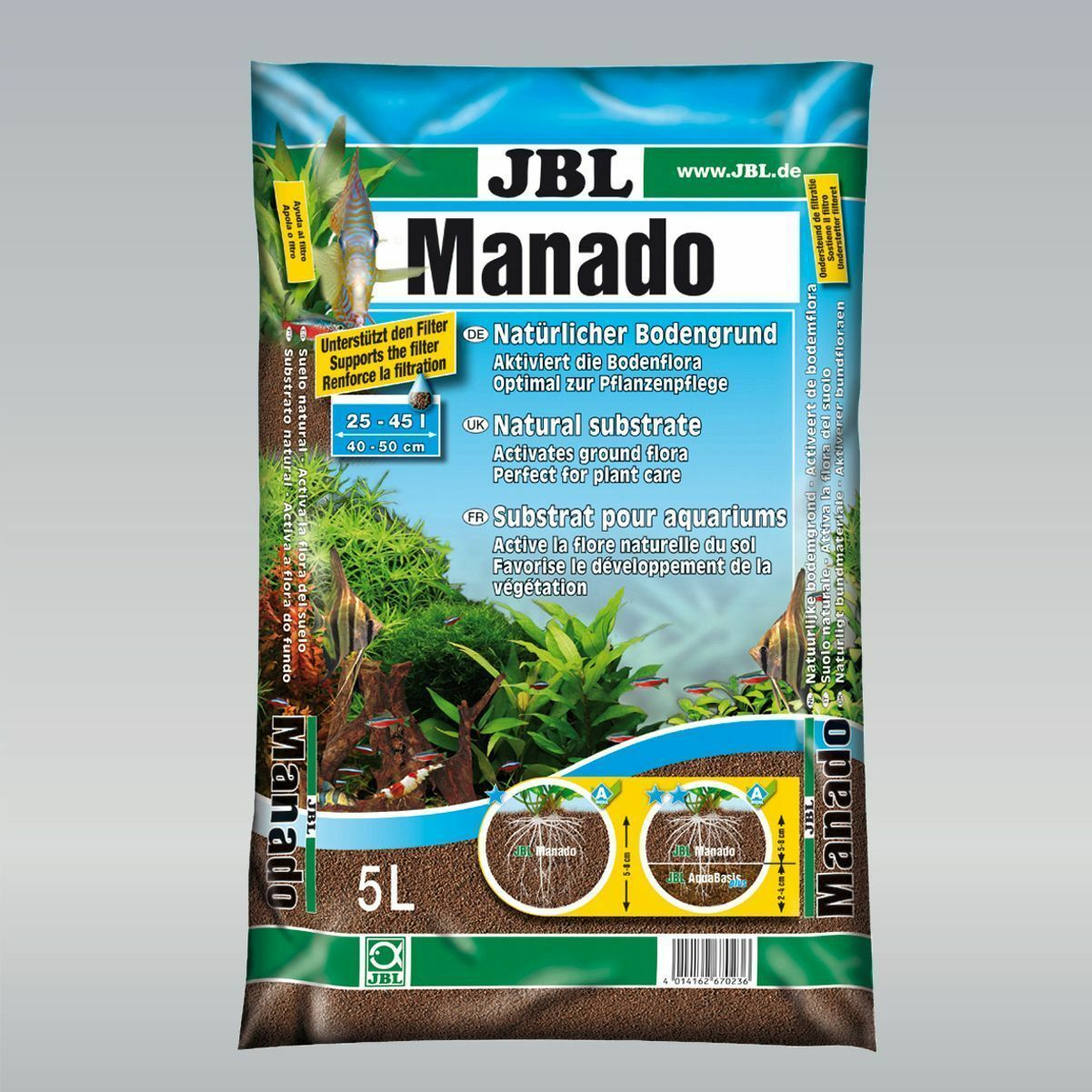 JBL Manado Natural Attractive Substrate plant planted tank aquarium sand gravel