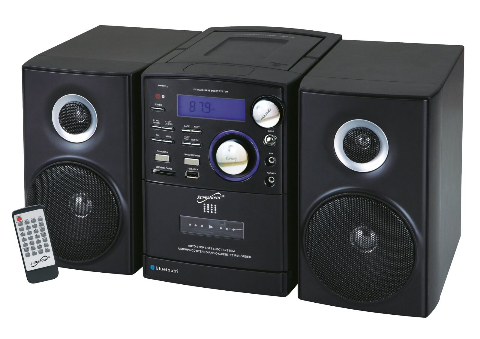 shelf stereo supersonic bluetooth system mp3 cd cassette. Black Bedroom Furniture Sets. Home Design Ideas