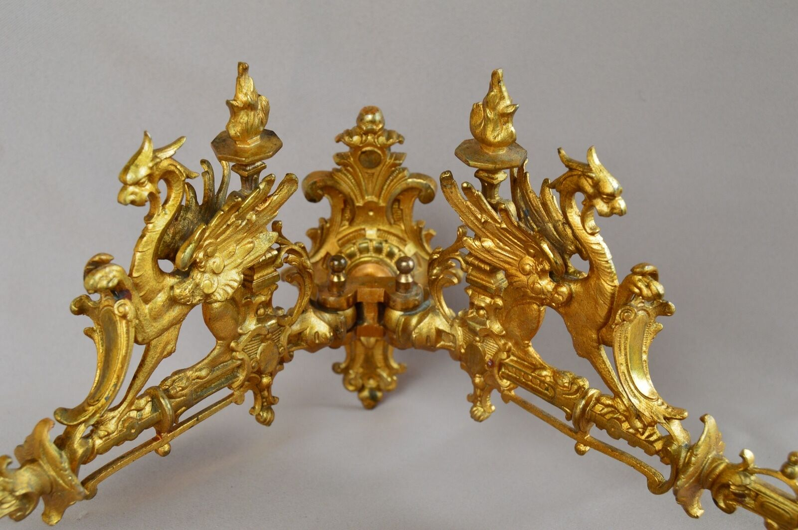 French Antique Gothic Griffin Gilded Bronze Wall Lamp Sconce Thistle Mark