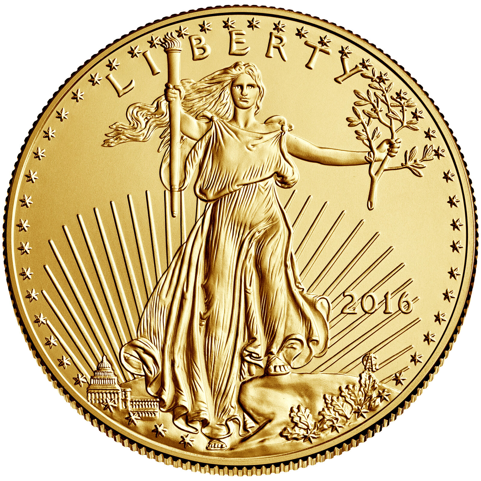 2016 - $5 1/10oz Gold American Eagle