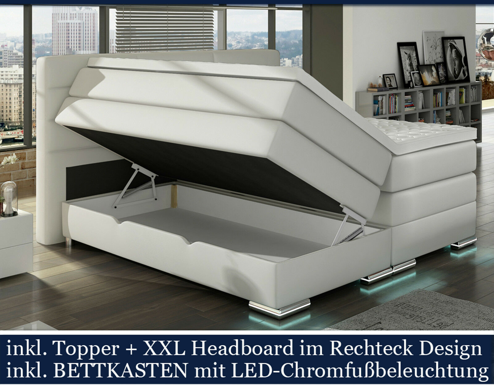 Xxl boxspringbett mit bettkasten boxspring bett weiss led for Bett mit led