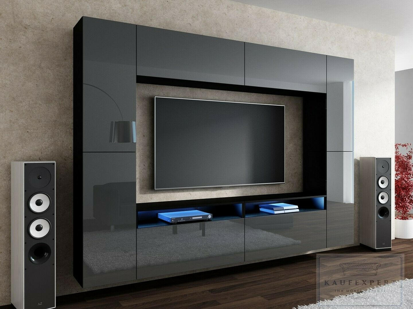 neuheit wohnwand cinema grau hochglanz schwarz mediawand. Black Bedroom Furniture Sets. Home Design Ideas