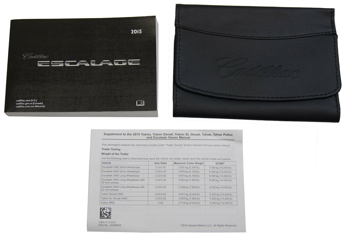 2015 Cadillac Escalade/ESV US Owners Manual Book W/Leather Case New  22953737 1 of 7Only 3 available ...