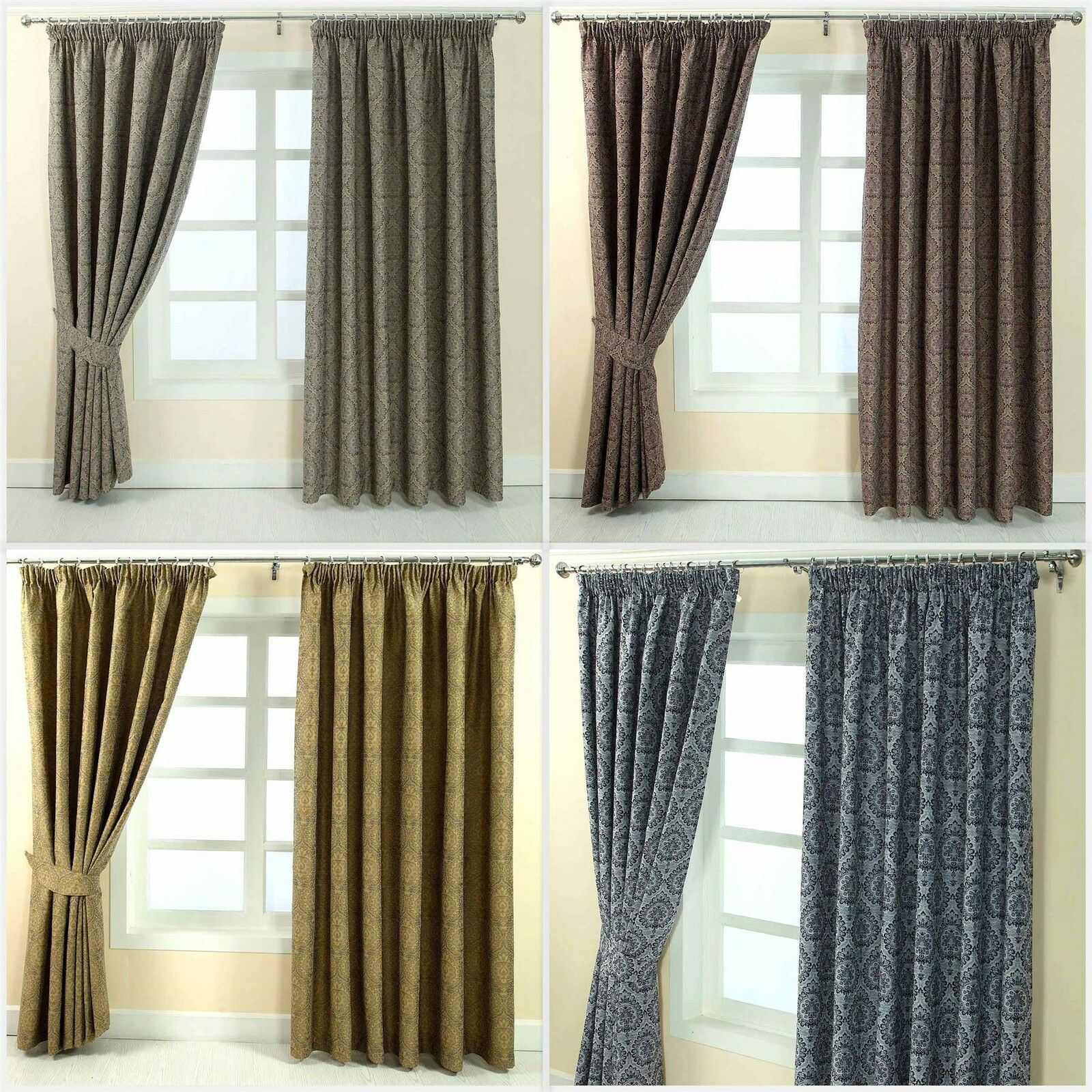 Floral Pencil Pleat Fully Lined Jacquard Damask Curtains