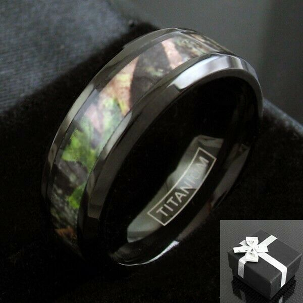 BLACK TITANIUM MEN\'S Red & Green Forest Camo Wedding Band Ring Size ...