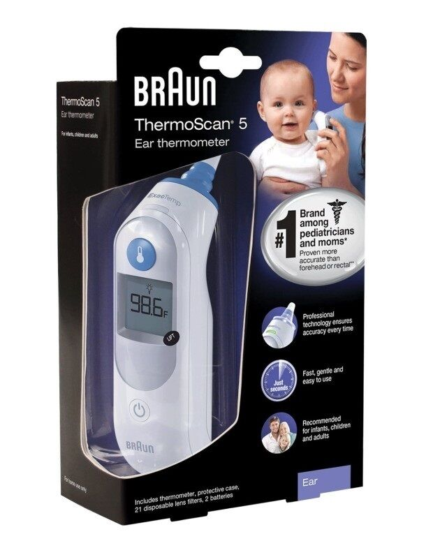 Braun thermoscan 5 ear thermometer irt 6500 us new digital baby cover nib usa picclick ca for Thermo scanner watch