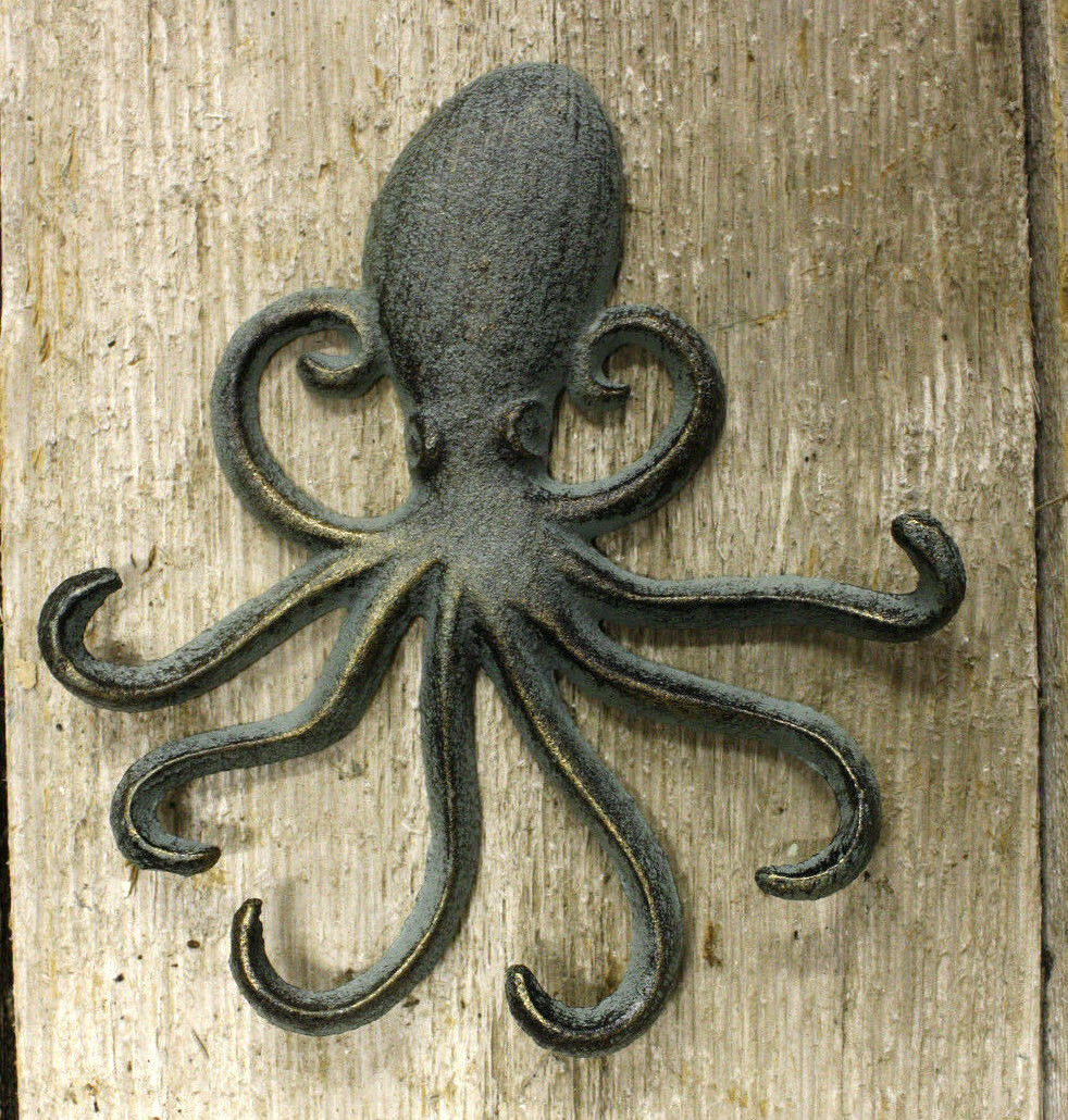 Heavy Cast Iron Octopus Towel Hanger Coat Hooks Hat Hook, Key Rack Nautical