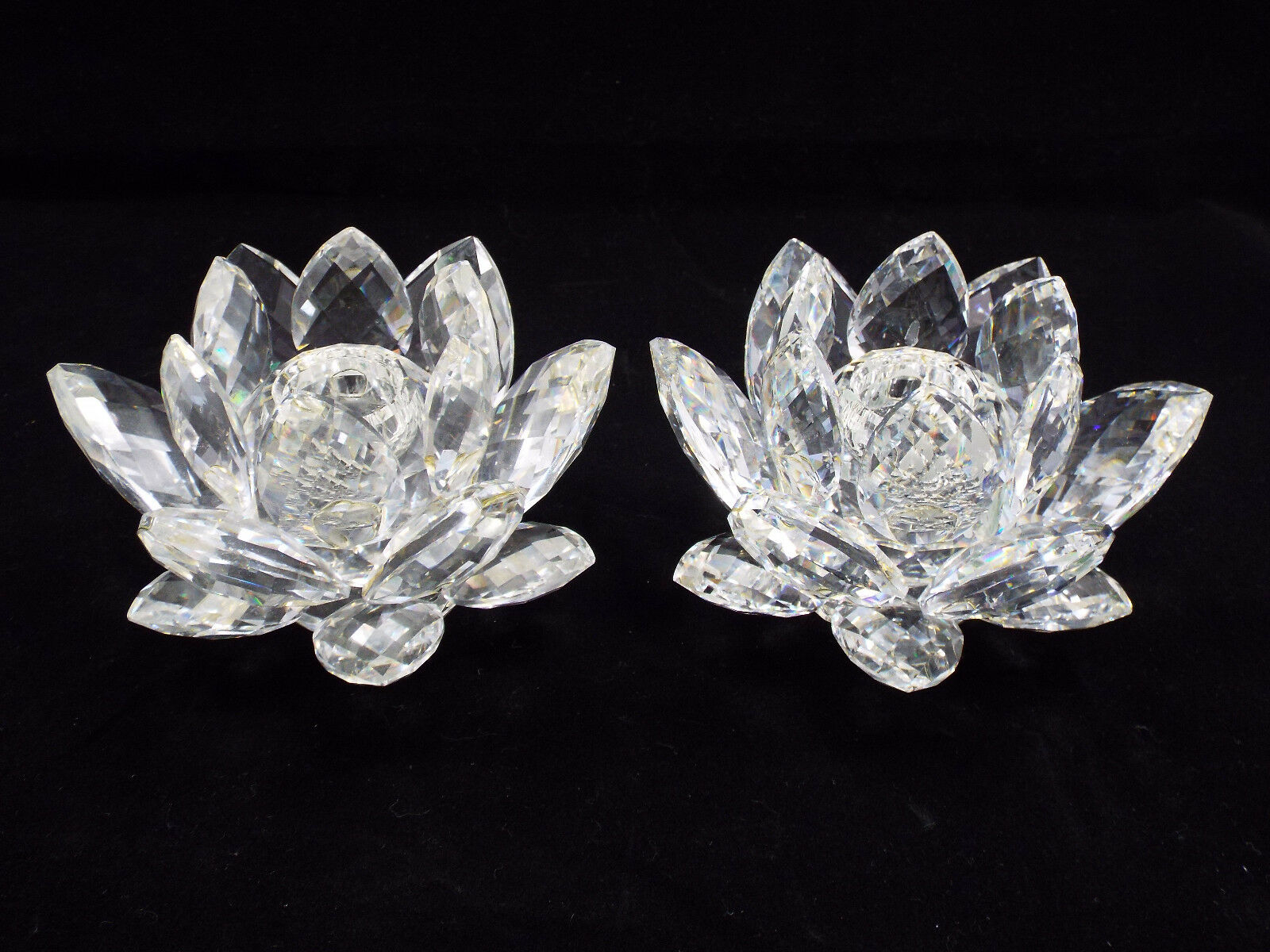 Swarovski Crystal Lotus Flower Candle Holders 2 Pc 17500 Picclick