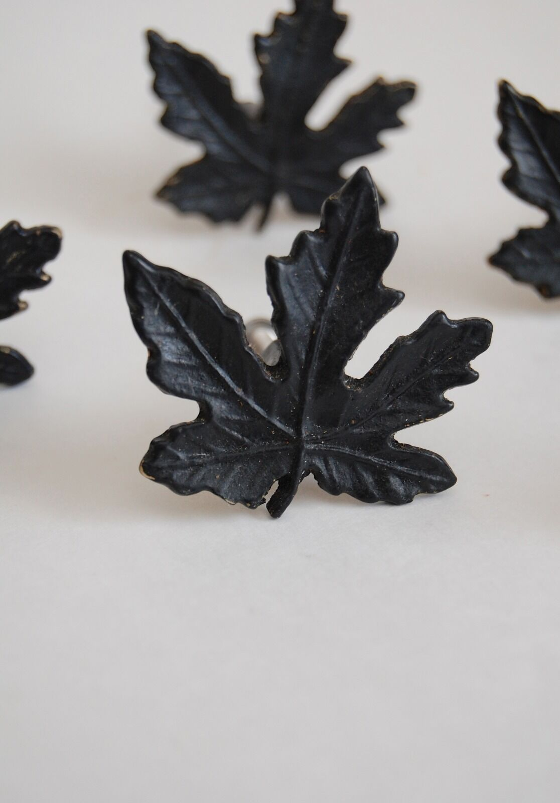 Vintage cast metal maple leaf drawer or cabinet pulls - set of six