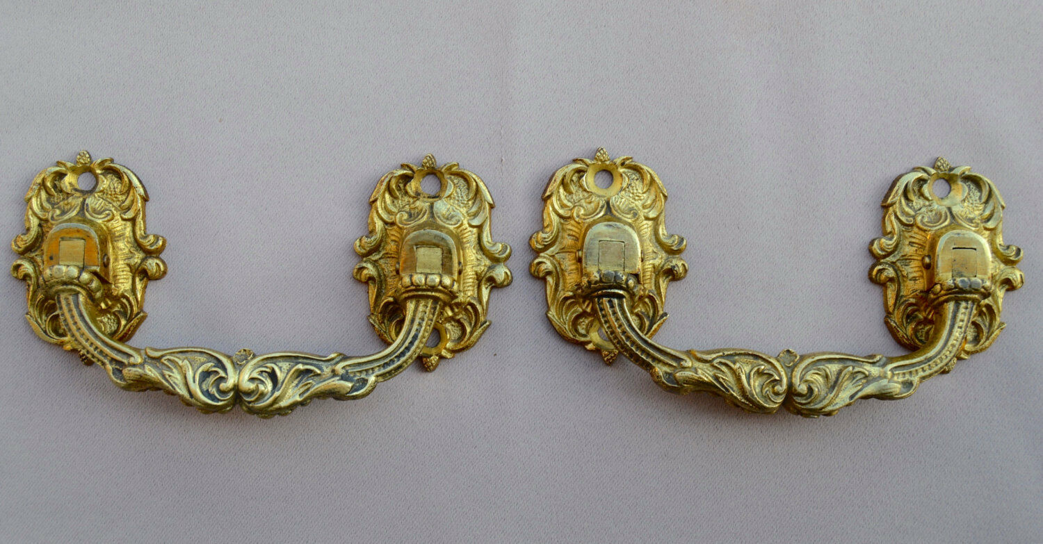 French Antique Pair of Piano Handles by L. Pinet - Antique Bronze Hardware